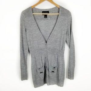 WHBM Medium Gray Long Sleeve Button Down Cardigan